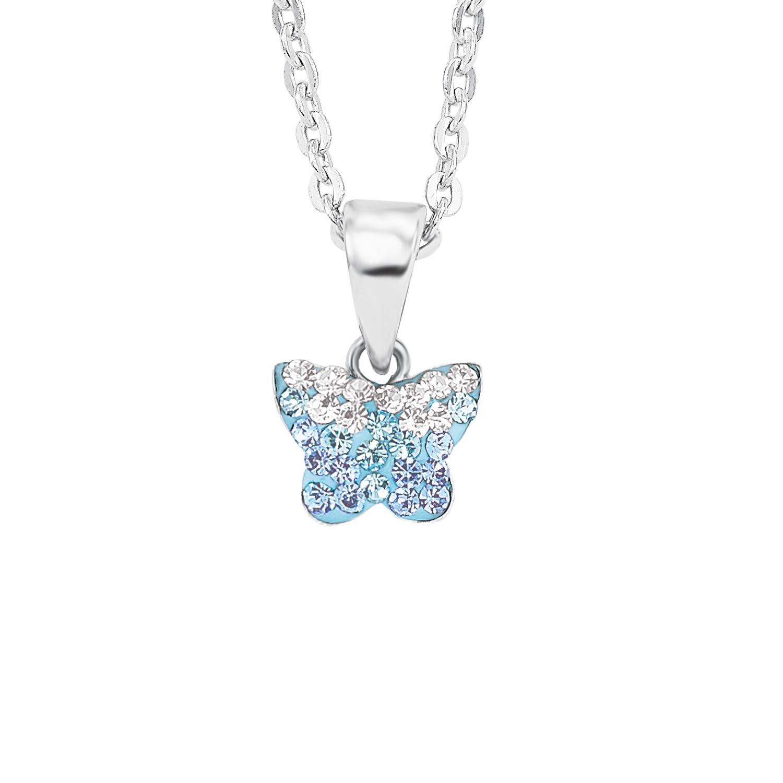 Kette mit Anhänger für Mädchen, Sterling Silber 925, Preciosa Steine Schmetterling