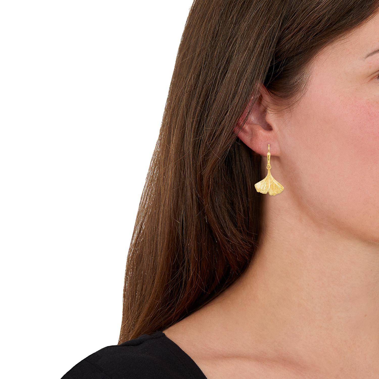 Ohrhänger Gold 375/9 ct Ginkgoblatt