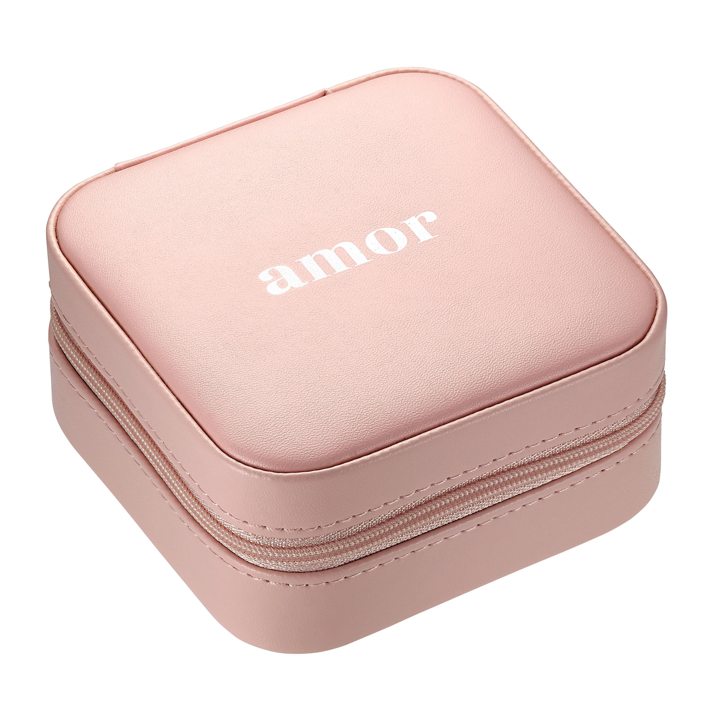 Travelbox Amor Schmuckbox klein, Leder rosa