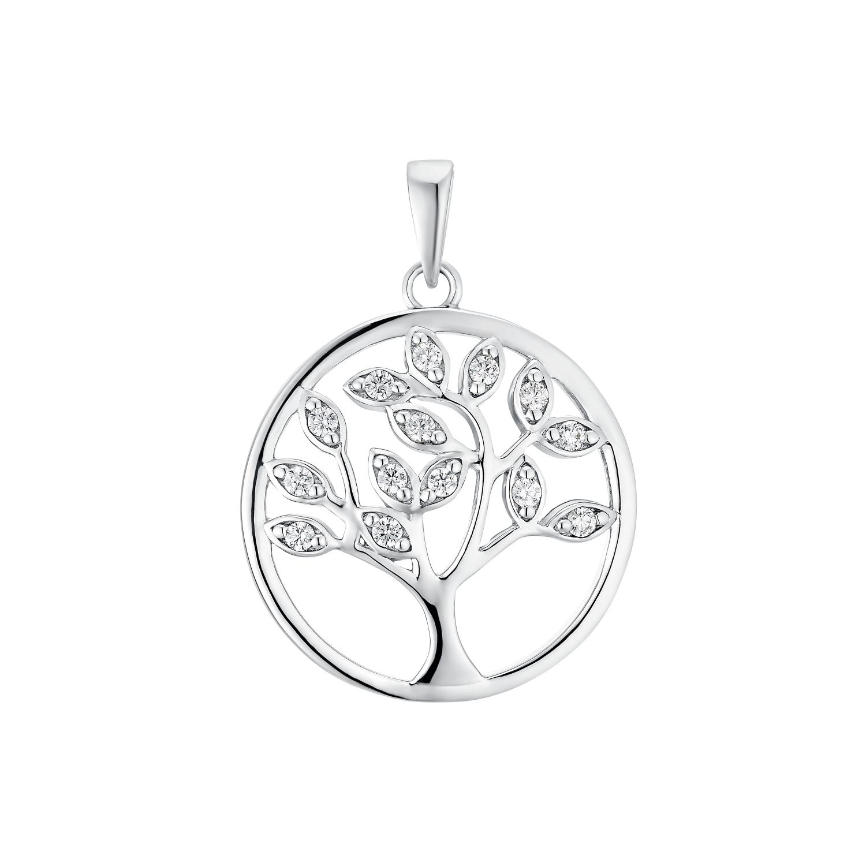 Motivanhänger für Damen, 925 Sterling Silber Zirkonia   Lebensbaum