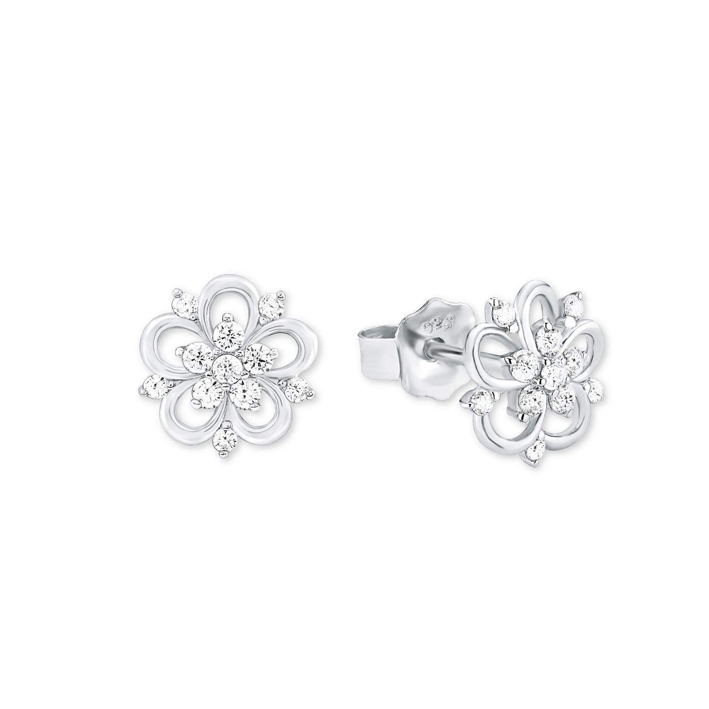 Ohrstecker für Damen, Sterling Silber 925, Zirkonia Blume