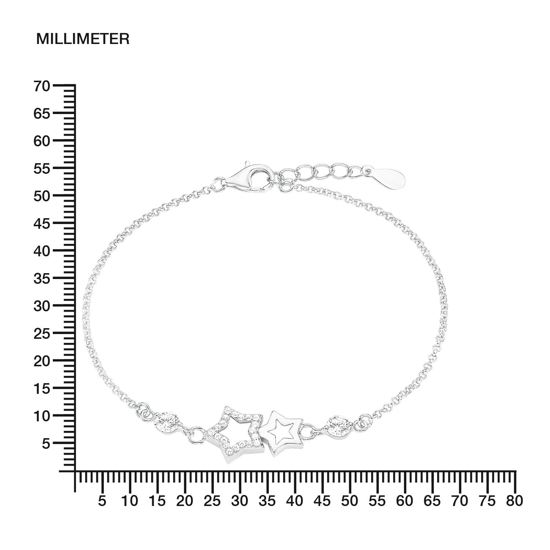 Armband Silber 925, rhodiniert Zirkonia synth. Stern