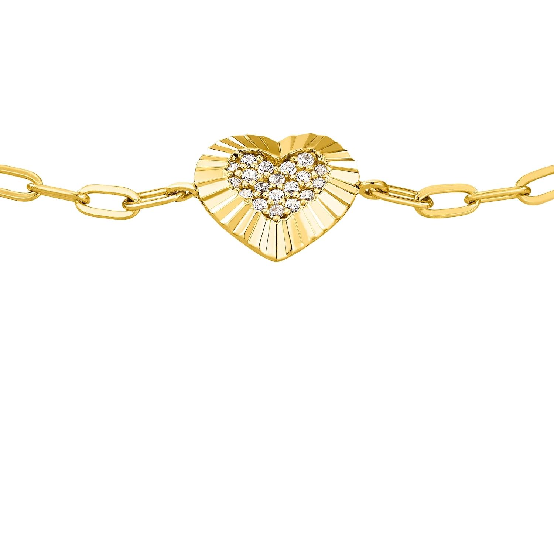 Armband für Damen, Sterling Silber 925 vergoldet, Zirkonia   Herz