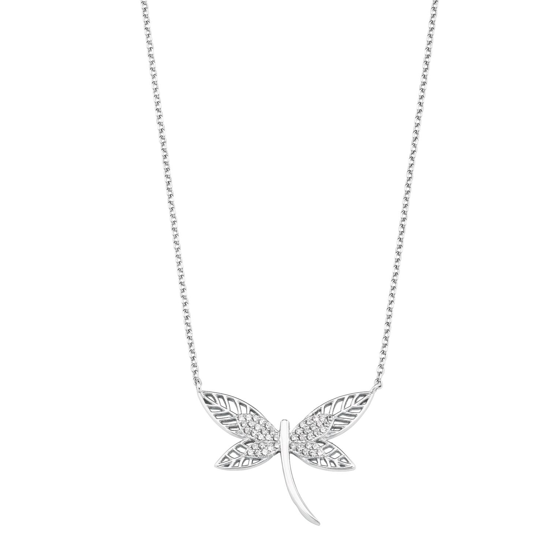 Kette mit Anhänger für Damen, Sterling Silber 925, Zirkonia Schmetterling