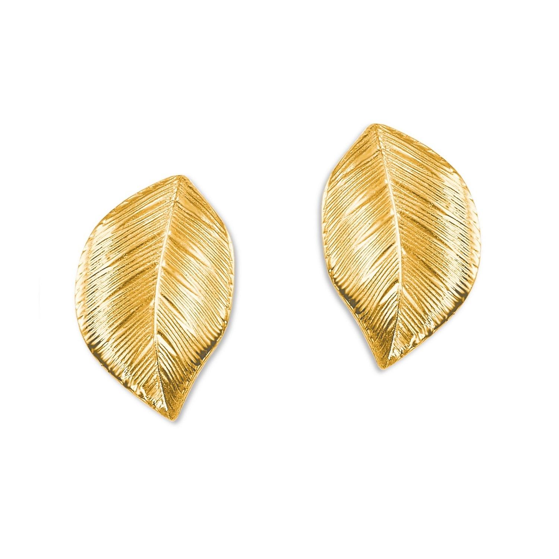 Ohrstecker für Damen 11 mm Blatt 375 Gold