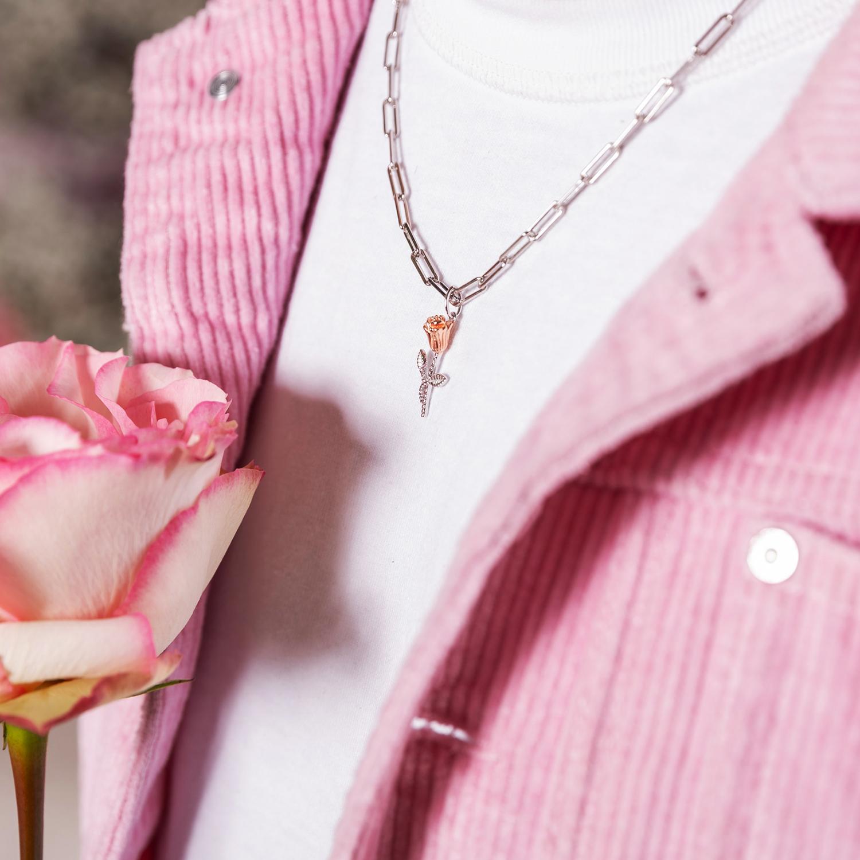 THE ROSE Kette mit Anhänger Unisex, Sterling Silber 925, Rose