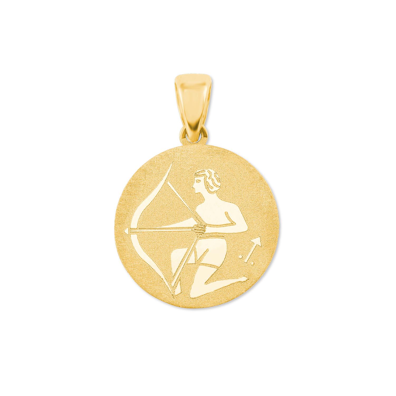 Anhänger Unisex Sternzeichen Schütze rund 375 Gold teilmattiert