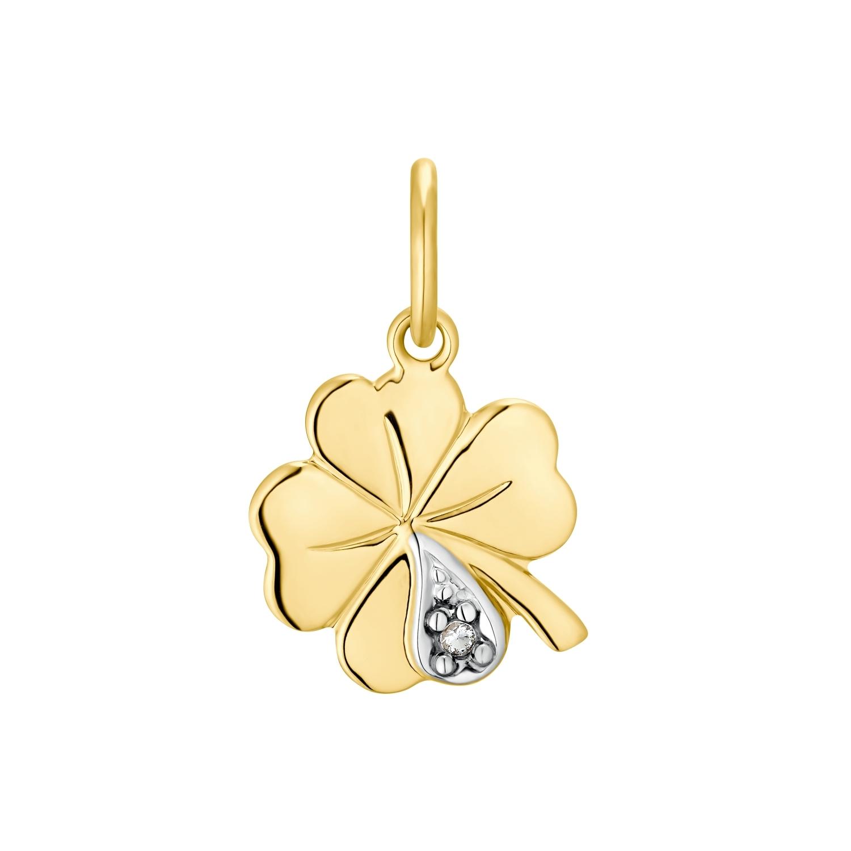 Motivanhänger für Damen, 375 Gold Zirkonia   Kleeblatt