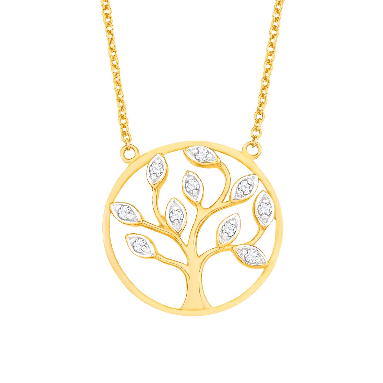 Kette mit Anhänger amor Damen-Kette 42+3 cm mit Anhänger Lebensbaum 925 Silber gelbvergoldet Zirkonia weiß