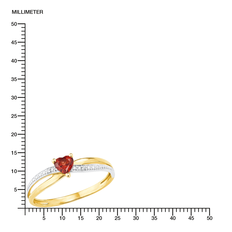 Ring Gold 375/9 ct Granat Herz
