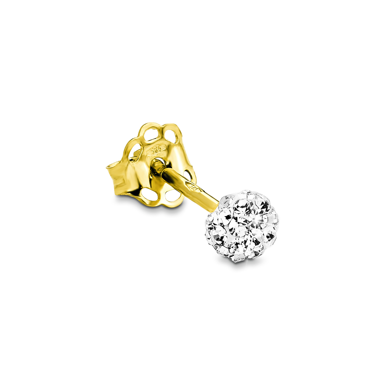 Single Ohrstecker für Damen, Gold 585, Kristallglas