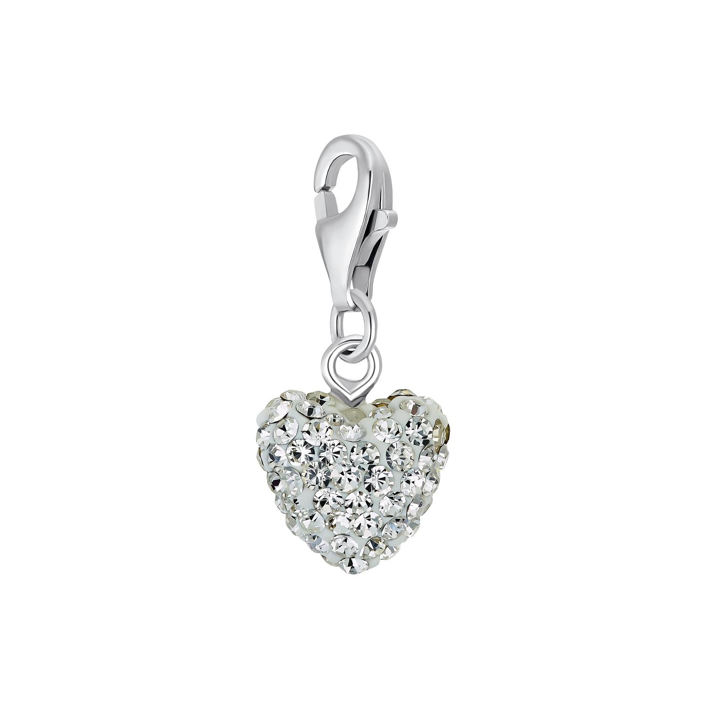 Charms für Damen, 925 Sterling  Silber  Kristallglas | Herz