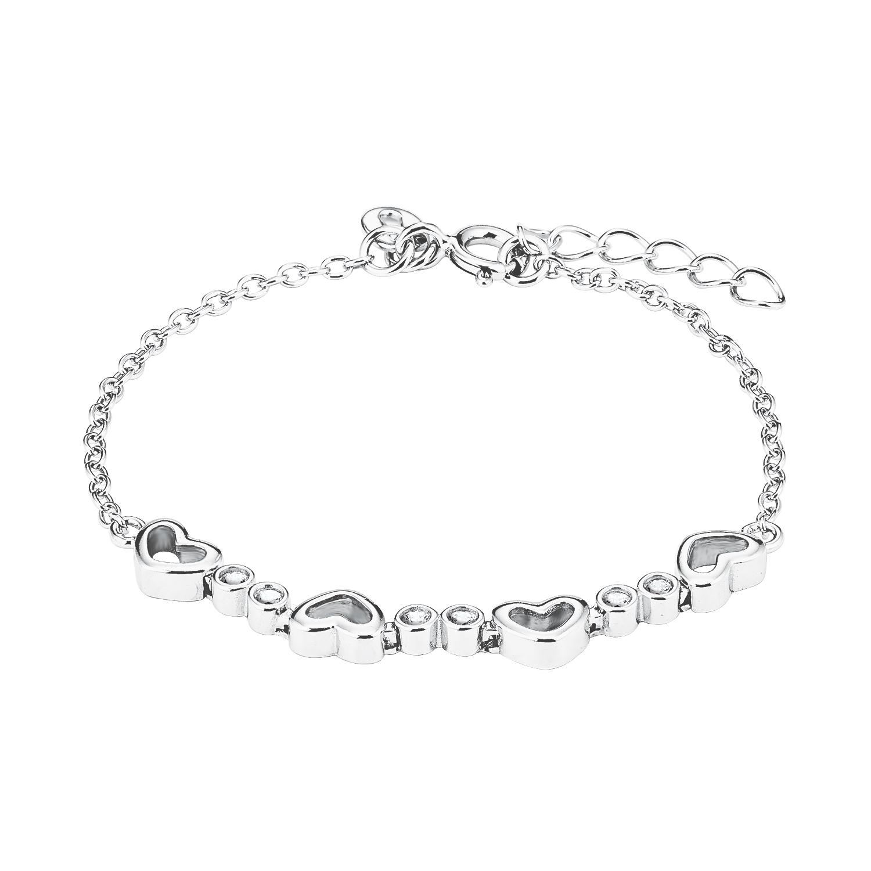 Armband Silber 925, rhodiniert Zirkonia synth. Herz