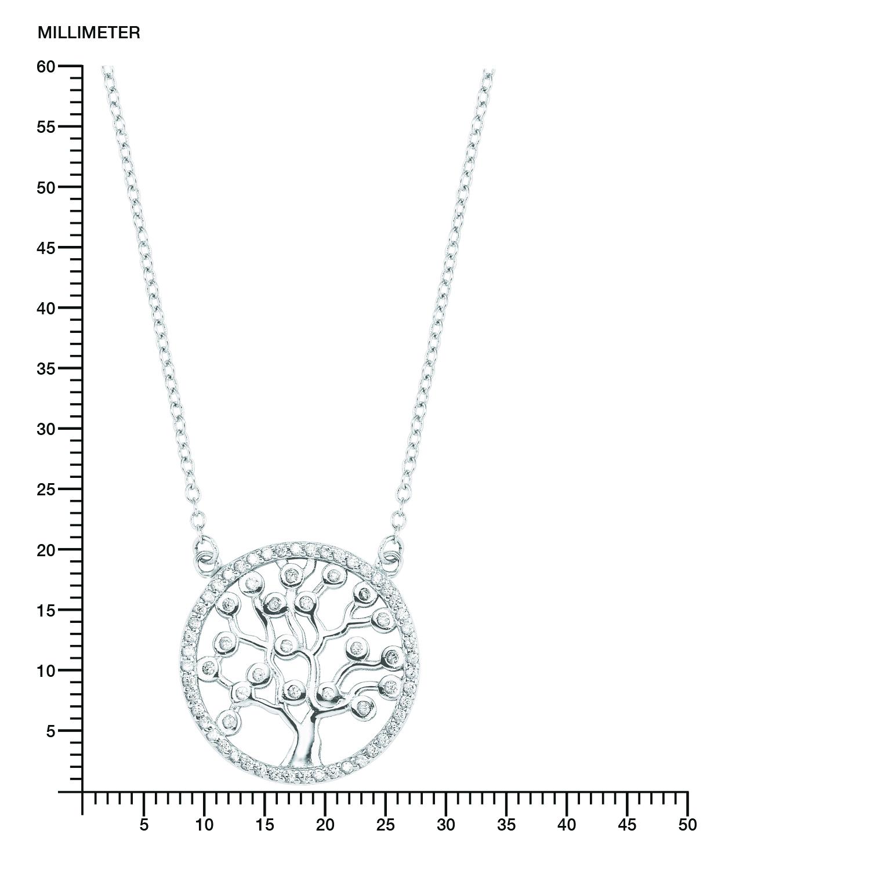 Kette mit Anhänger für Damen, Silber 925,42+3cm,Lebensbaum,Anker