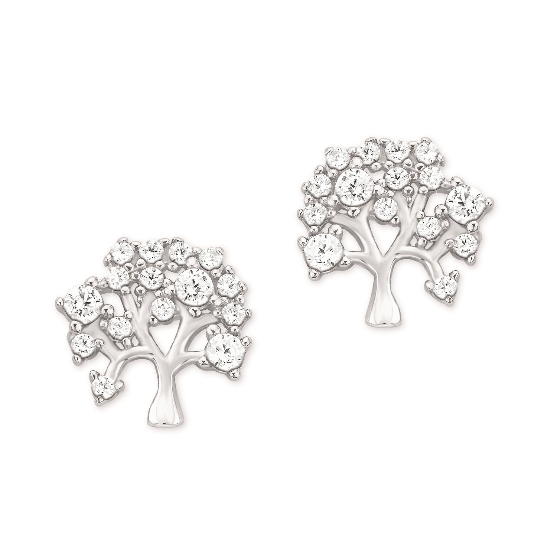 Ohrstecker für Damen, Sterling Silber 925, Zirkonia Lebensbaum