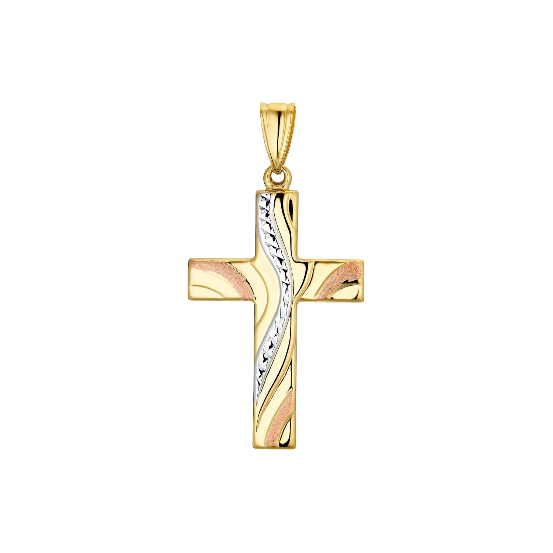 Motivanhänger für Damen, 585 Gold Tricolor | Kreuz