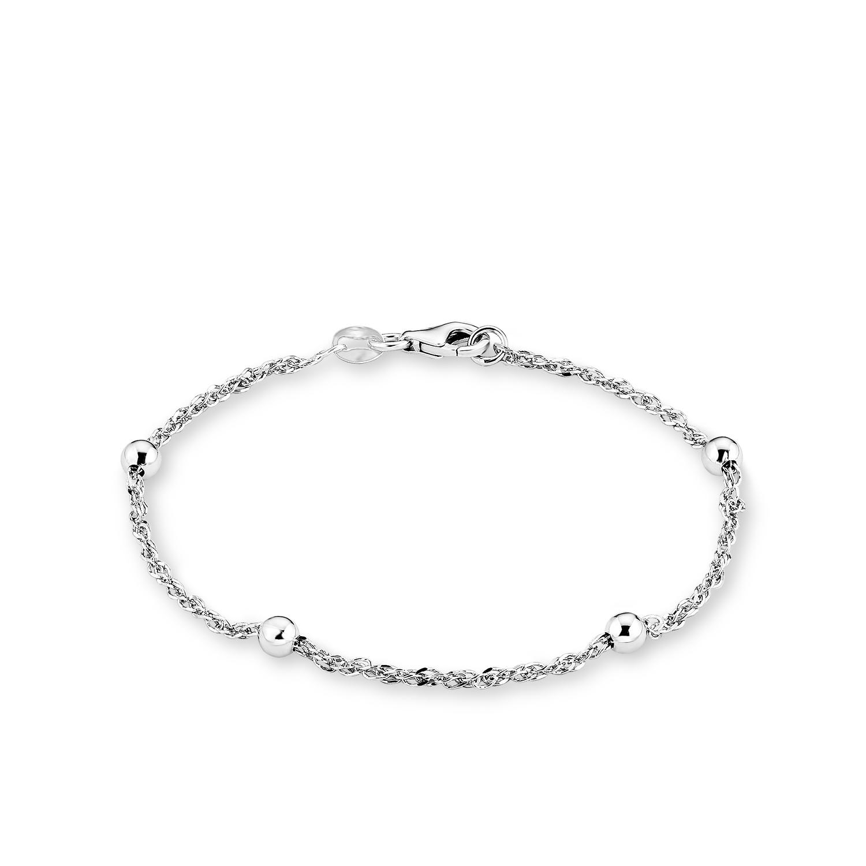 Armband für Damen 19 cm mit kleinen Kugeln 925 Silber rhodiniert