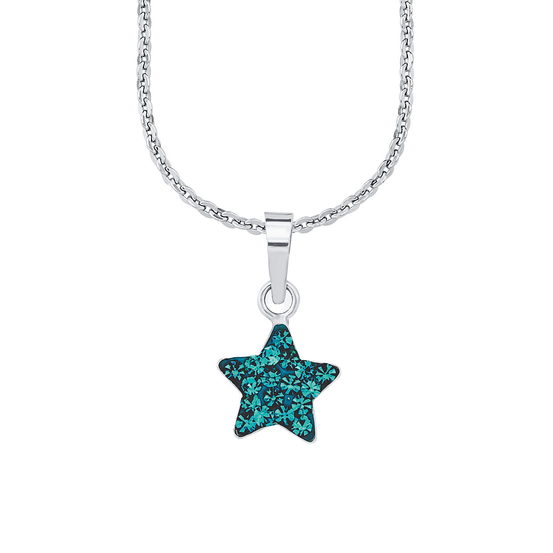 Kette mit Anhänger für Mädchen, Sterling Silber 925, Kristallglas Stern