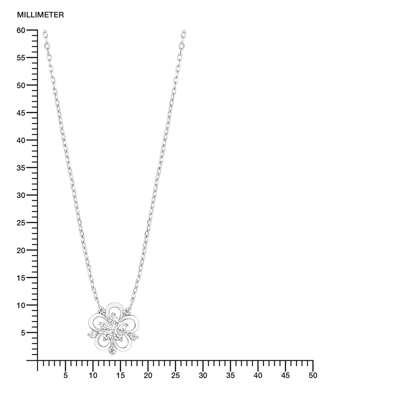 Kette mit Anhänger für Damen, Sterling Silber 925, Zirkonia Blume