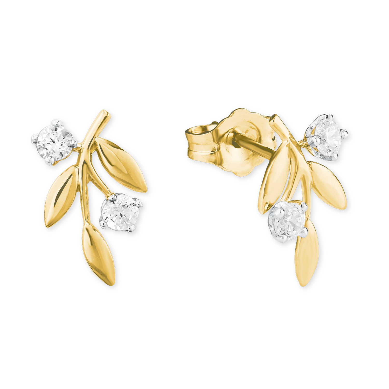 Ohrstecker für Damen, Gold 585, Zirkonia Blatt