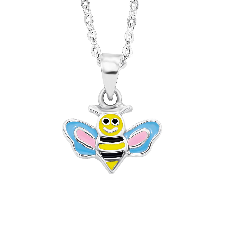 Kette mit Anhänger Silber 925, emailliert, rhodiniert Biene