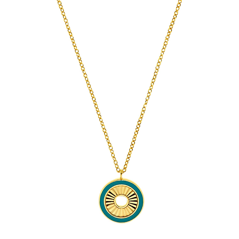 Kette mit Anhänger für Damen, Sterling Silber 925 vergoldet | Disc