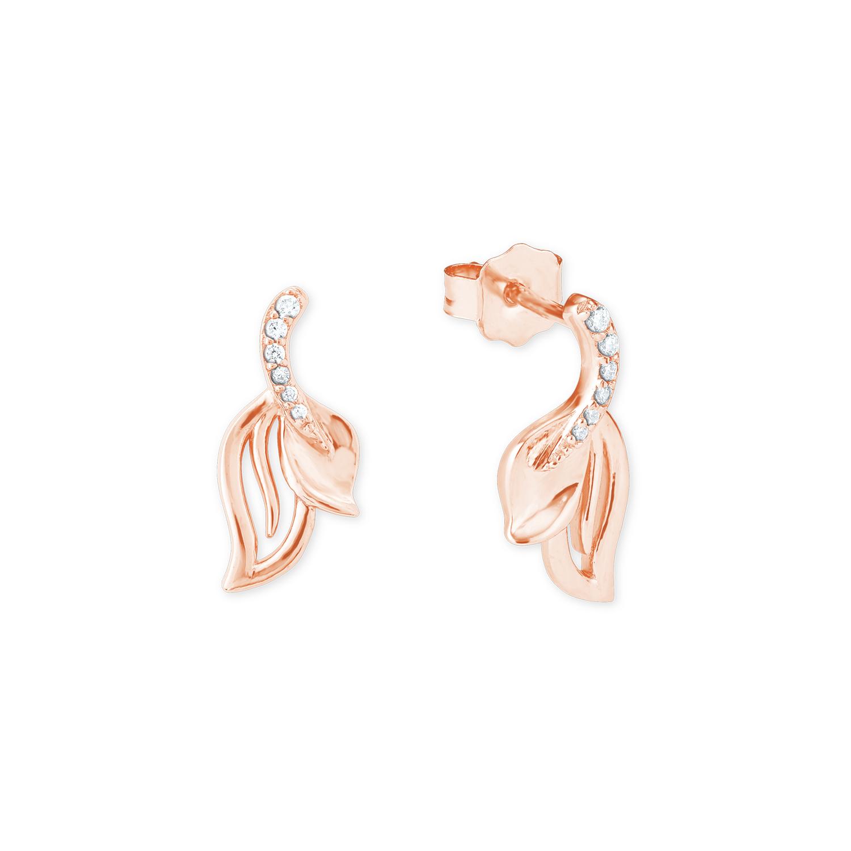 Ohrhänger für Damen, Sterling Silber 925, Zirkonia Blatt