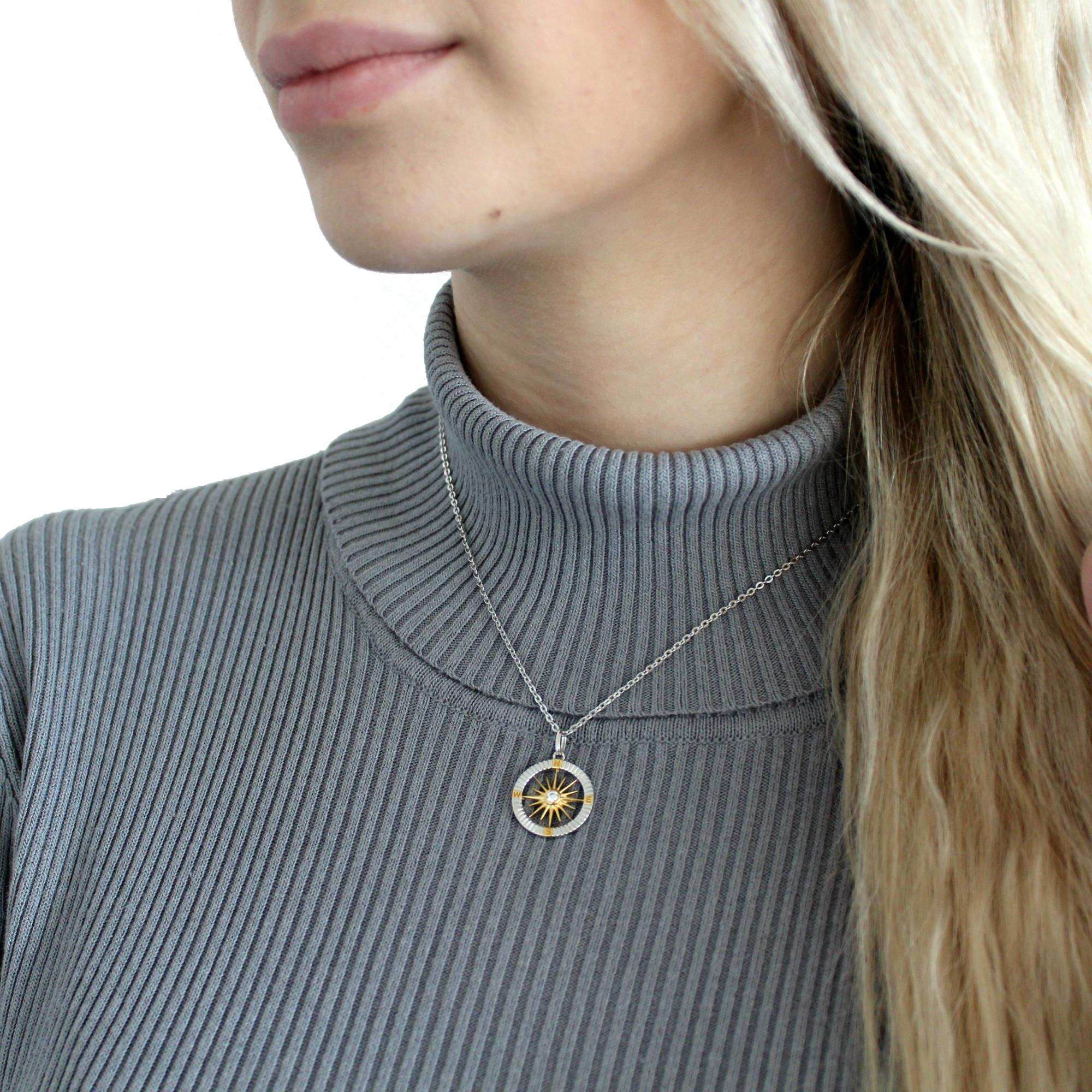 Kette mit Anhänger für Damen, Silber 925 teil-vergoldet | Kompass