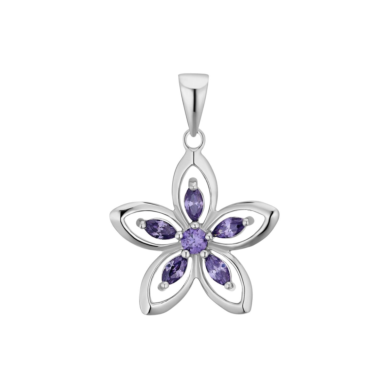 Motivanhänger für Damen, 925 Sterling Silber Zirkonia | Blume