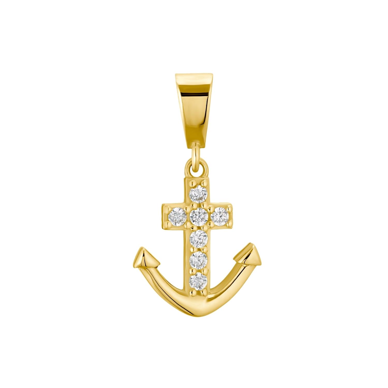 Motivanhänger für Damen, 375 Gold Zirkonia   Anker