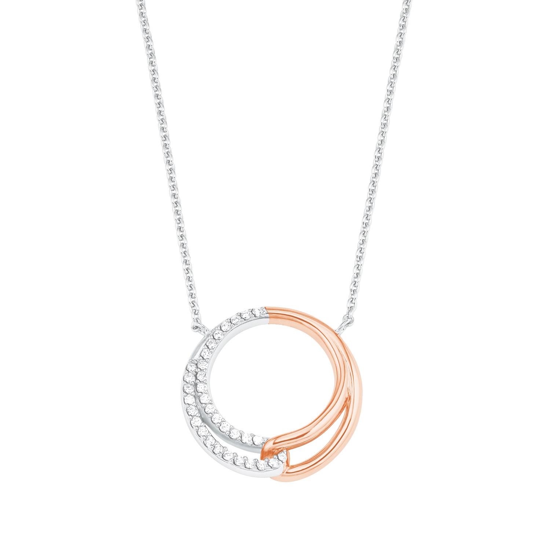 Kette mit Anhänger Silber 925, rhodiniert+rosévergoldet Zirkonia synth. Kreis