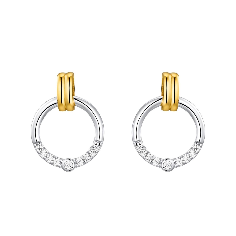 Ohrstecker für Damen, Sterling Silber 925 teilvergoldet, Zirkonia