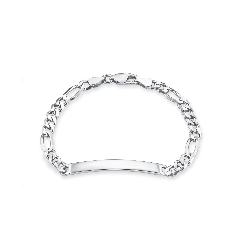 Identarmband Silber 925, rhodiniert
