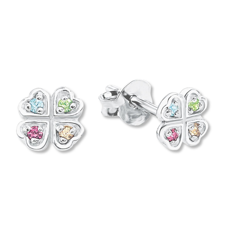 Ohrstecker für Mädchen, Sterling Silber 925, Glas Kleeblatt