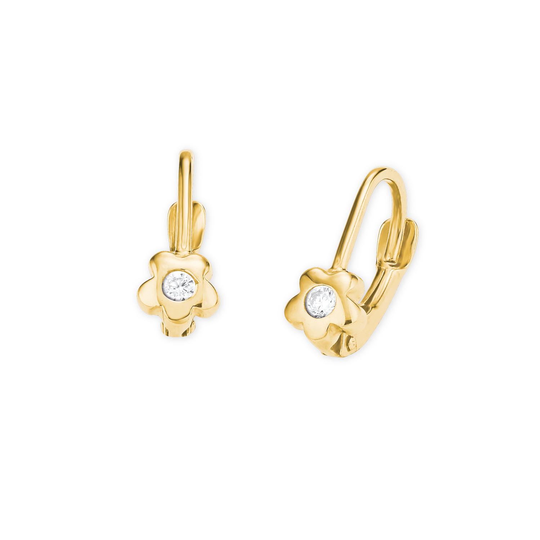 Ohrhänger für Mädchen, Gold 375, Zirkonia Blume