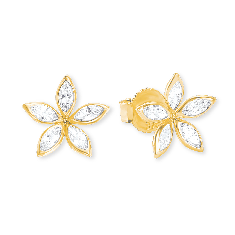 Ohrstecker für Damen, Gold 375, Zirkonia Blume
