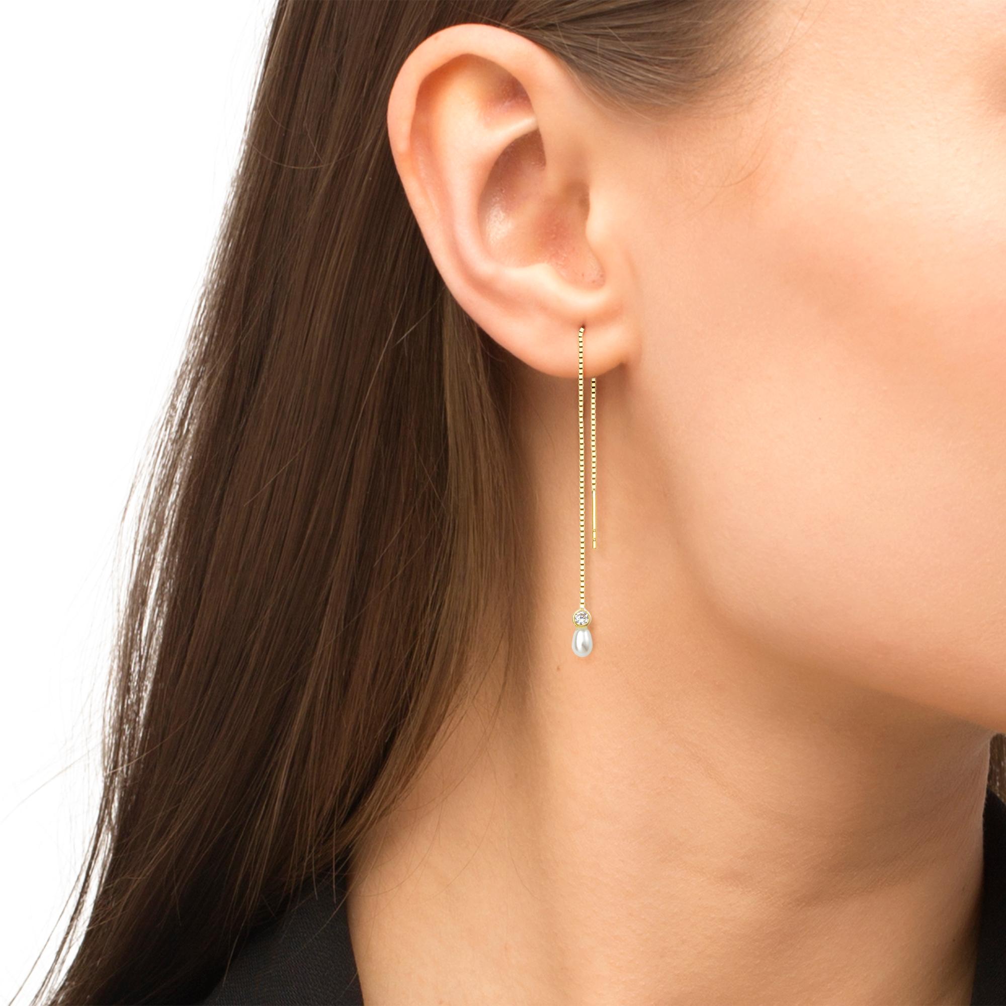 Ohrhänger für Damen, Gold 375, Zirkonia Süßwasserzuchtperle