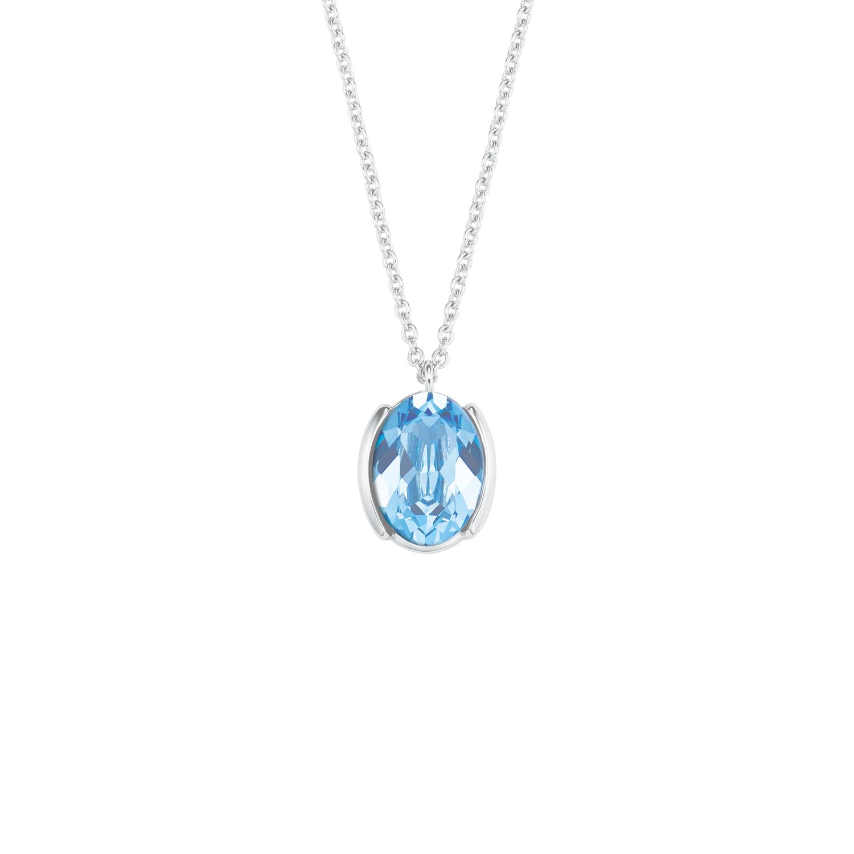 Kette mit Anhänger für Damen, Sterling Silber 925, Kristallglas