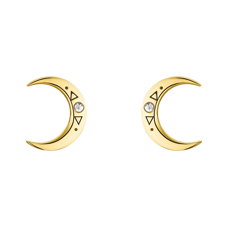 Ohrstecker für Damen, Sterling Silber 925 vergoldet, Zirkonia | Mond