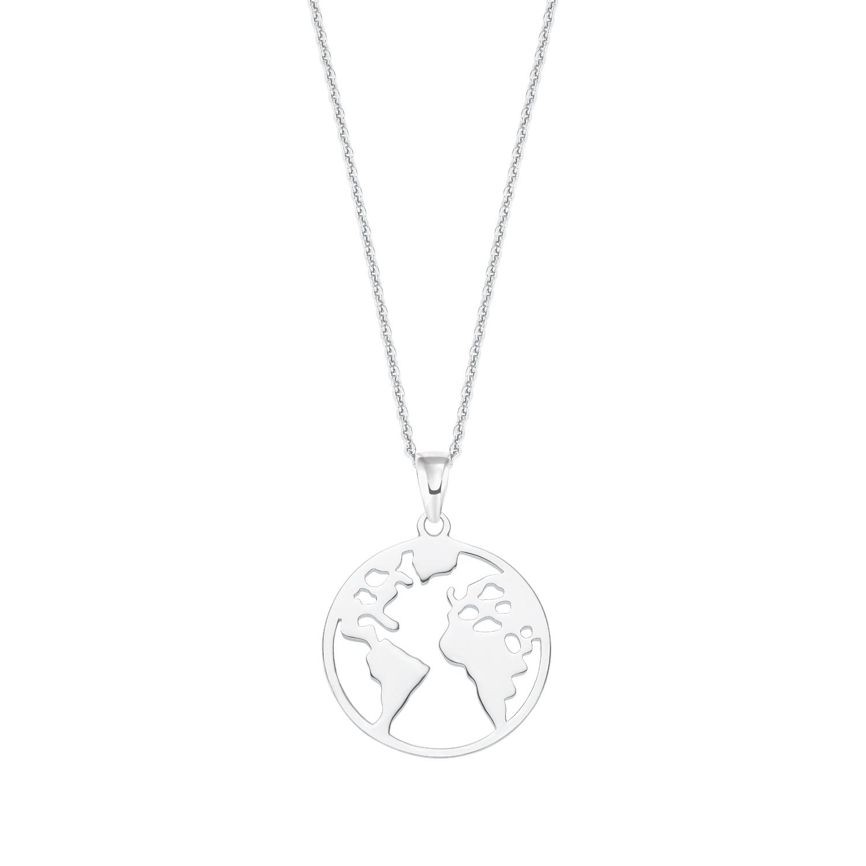 Kette mit Anhänger für Damen, Sterling Silber 925, Weltkugel