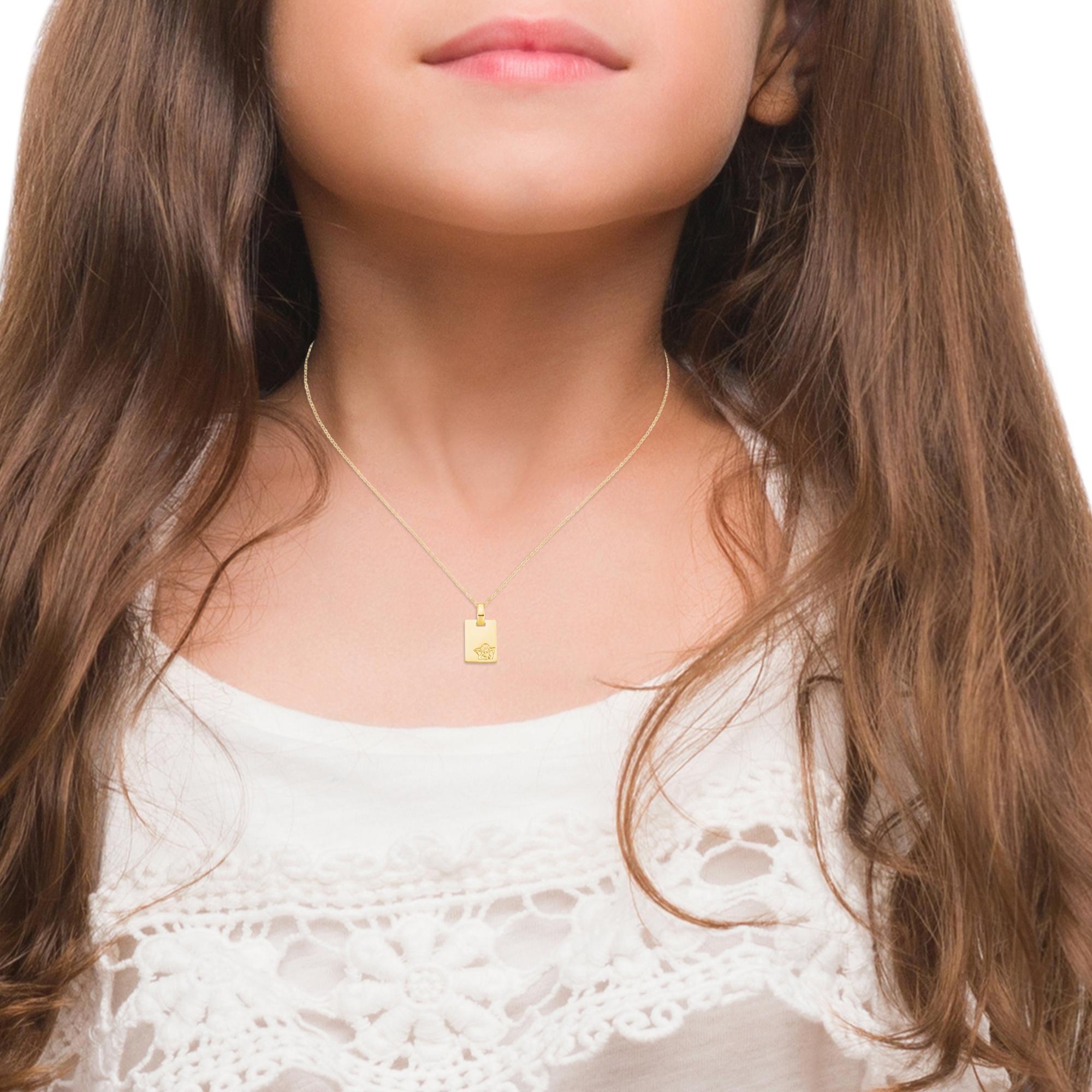 Kette mit Anhänger für Mädchen mit Engelsanhänger, Echtgold 375/9 ct, Gravur