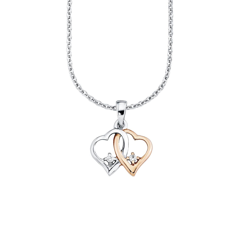 Kette mit Anhänger für Damen 42 cm mit Herzanhänger Bicolor 925 Sterling Silber teil-rosévergoldet