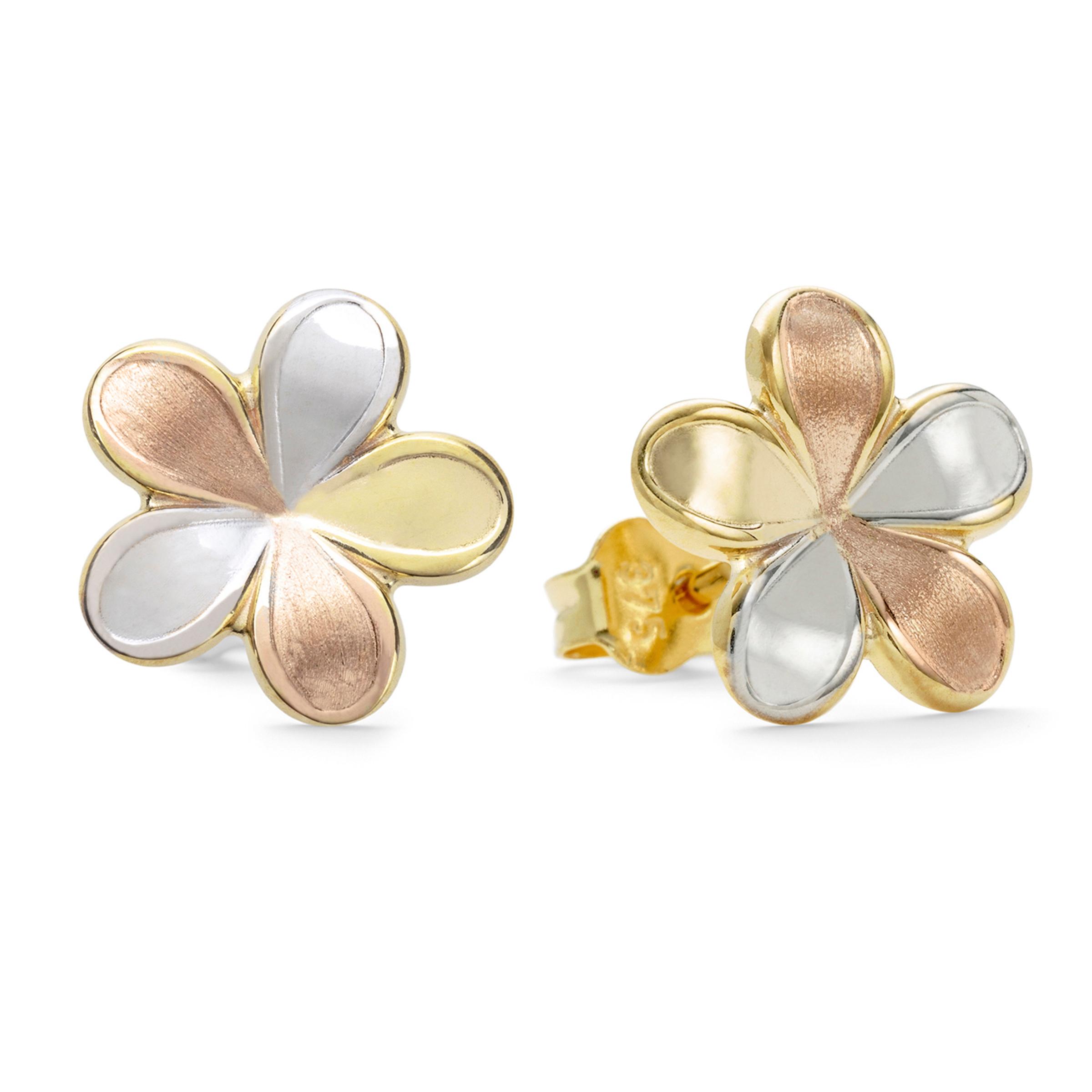 Ohrstecker für Damen mit tricolor Blume aus Gold 375