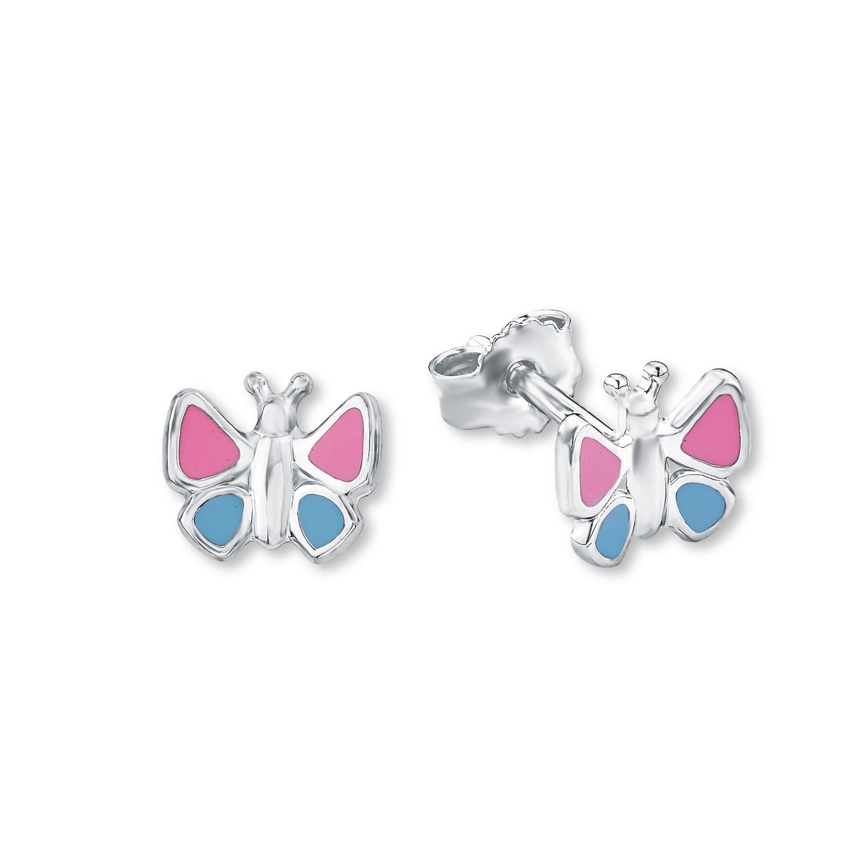 Ohrstecker für Mädchen 8 mm Schmetterling 925 Sterling Silber blau rosa lackiert