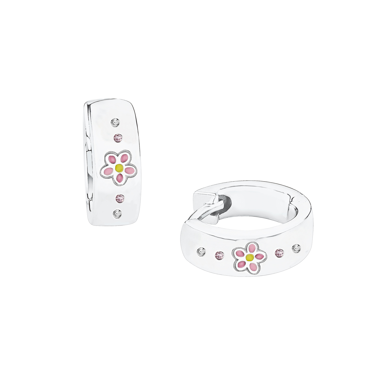 Creole für Mädchen, Sterling Silber 925, Zirkonia Blume