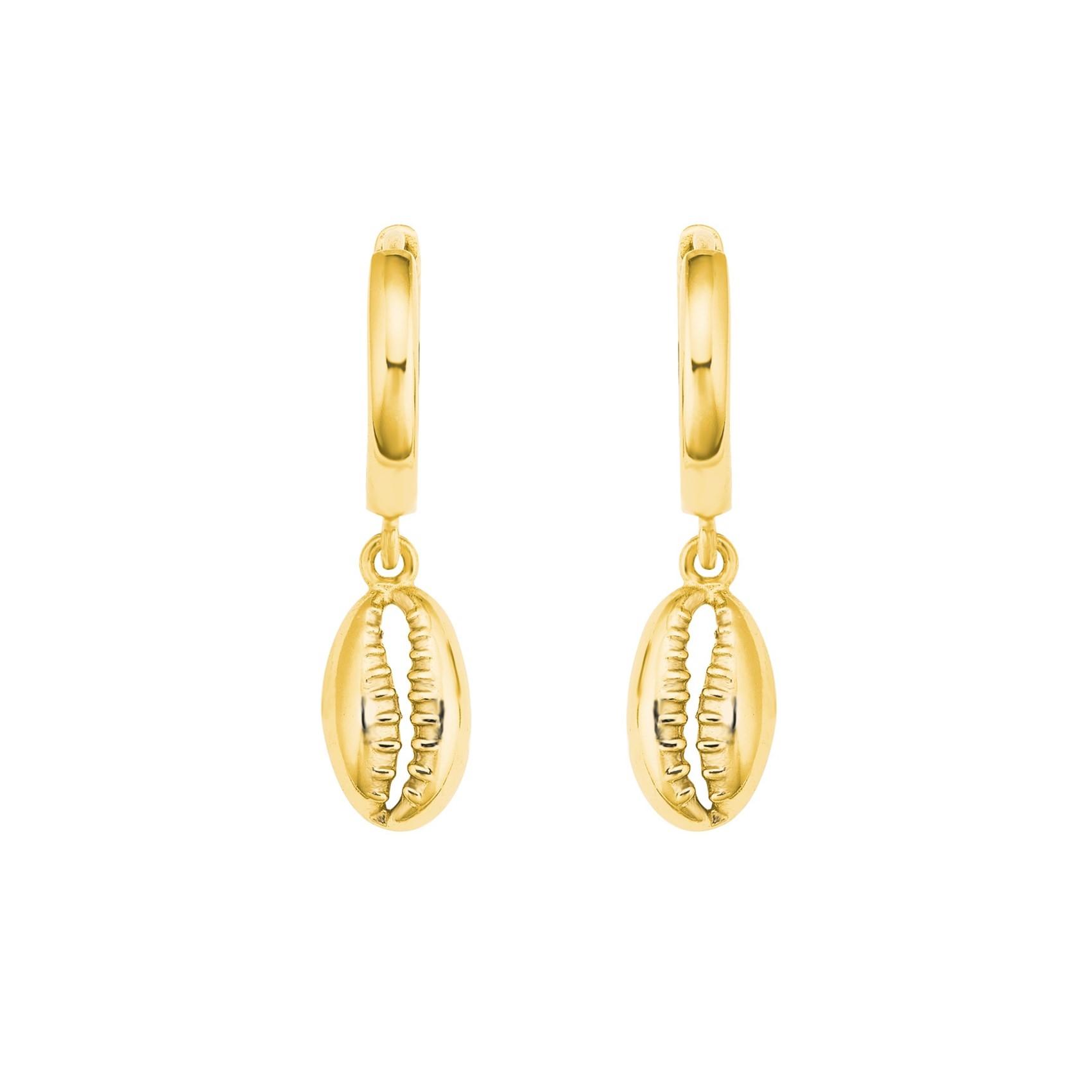Creolen für Damen, 925 Sterling Silber vergoldet, Muschel klein