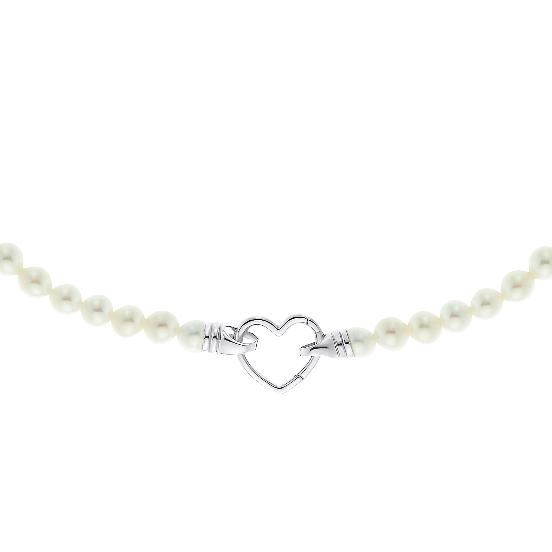PEARL & HEART Kette mit Anhänger Silber 925, rhodiniert Herz