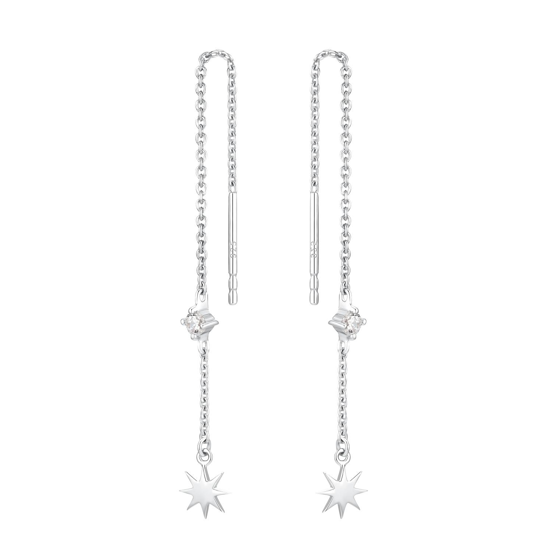 Ohrhänger für Damen, Sterling Silber 925 rhodiniert, Zirkonia | Stern