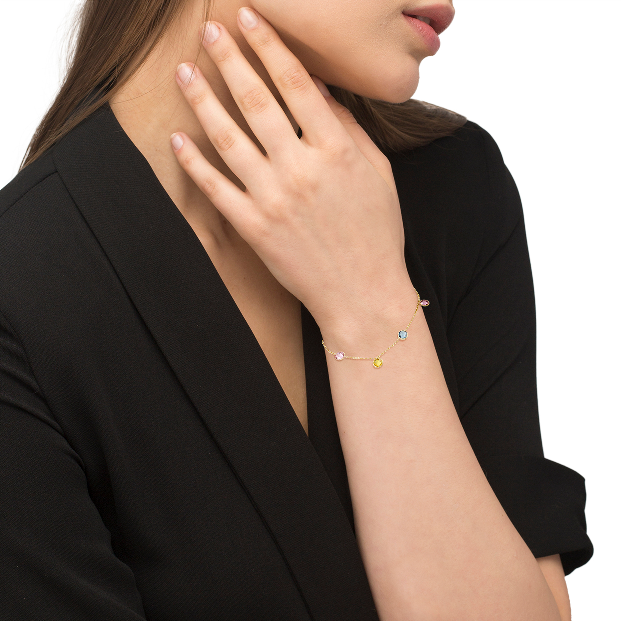 Armband für Damen, Gold 375, Zirkonia