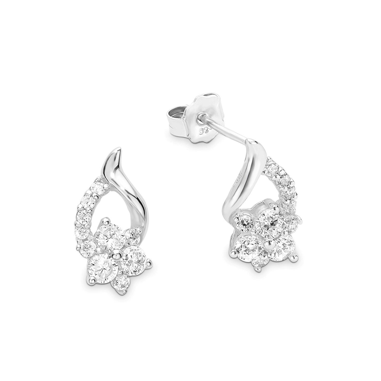 Ohrring für Damen 1,5 cm Blume 925 Silber rhodiniert Zirkonia weiß